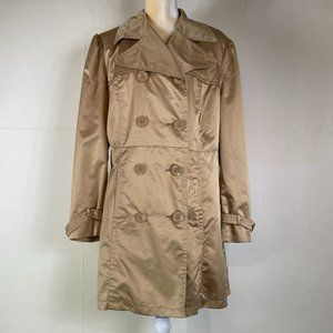 PLUS SIZE 1X George Gold Satin Trench Coat